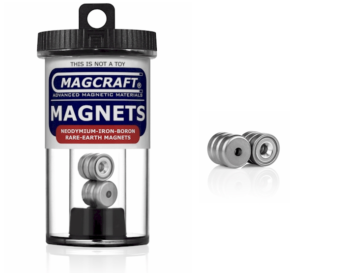 Cup Magnet - Rare Earth, 0.500 in. Outside Diameter x 0.132 in. Inside Diameter x 0.165 in. Thick, N, 6-Count CUP0301, cup , magnets, magcraft, neodymium, rare earth