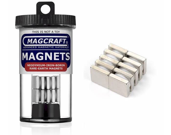 Rare-Earth Block Magnets, 0.5 in. Long x 0.5 in. Wide x 0.125 in. Thick, 10-Count NSN0911, block , magnets, magcraft, neodymium, rare earth