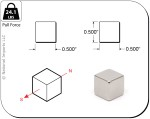 Rare-Earth Cube Magnets, 0.5 in. Long x 0.5 in. Wide x 0.5 in. Thick, 4-Count - NSN0607
