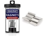 Rare-Earth Arc Magnets, 0.75 in. Outside Radius x 0.625 in. Inside Radius x 90 in. Deg x 0.75 in. Long, N, 2-Count - NSN0627