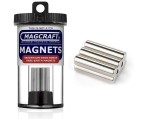 Rare-Earth Rod Magnets, 0.25 in. Diameter x 1 in. Long, 6-Count - NSN0719