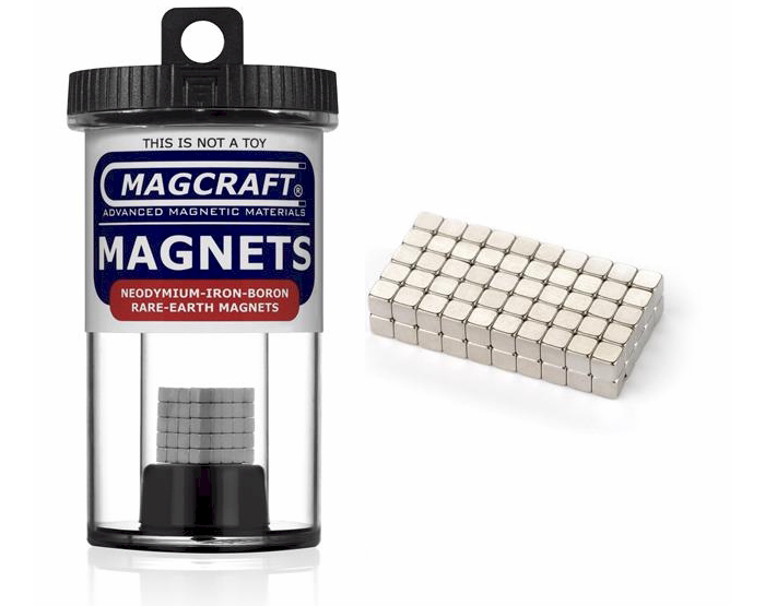 Rare-Earth Cube Magnets, 0.125 in. Long x 0.125 in. Wide x 0.125 in. Thick, 100-Count NSN0570, cube , magnets, magcraft, neodymium, rare earth