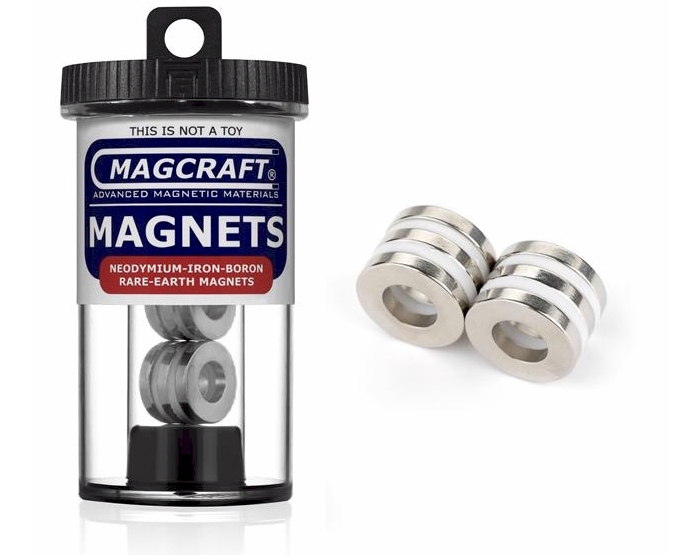 Rare-Earth Ring Magnets, 0.75 in. Outside Diameter x 0.375 in. Inside Diameter x 0.125 in. Thick, 6-Count NSN0615, ring , magnets, magcraft, neodymium, rare earth