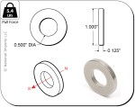 Rare-Earth Ring Magnets, 1 in. Outside Diameter x 0.5 in. Inside Diameter x 0.125 in. Thick, 4-Count - NSN0616