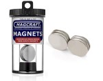 Rare-Earth Disc Magnets, 1 in. Diameter x 0.0625 in. Thick, 6-Count - NSN0749
