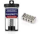 Rare-Earth Rod Magnets, 0.25 in. Diameter x 0.5 in. Long, 10-Count - NSN0818